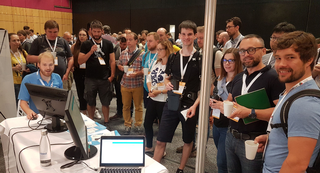 Our booth getting mobbed, as usual, at EuroPython