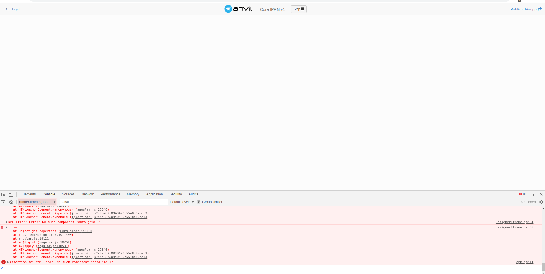 Blank Page When Running App In IDE - Bug Reports - Anvil Community Forum