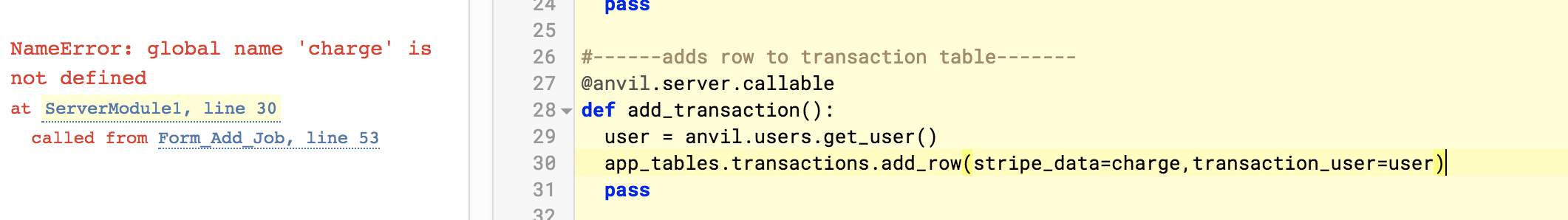 Stripe payment output stored to Anvil Data Table? - Anvil