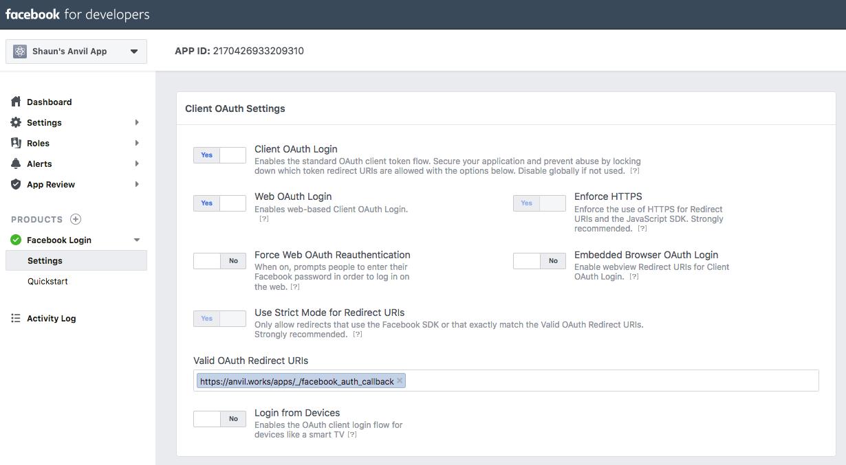 Facebook login error - Anvil Q&A - Anvil Community Forum