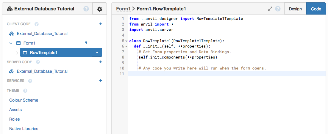 Go to the Code View for RowTemplate1
